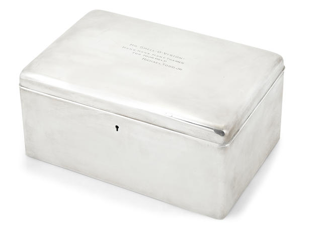 Sterling silver humidor by Tiffany, with engraved presentation from Mike Todd