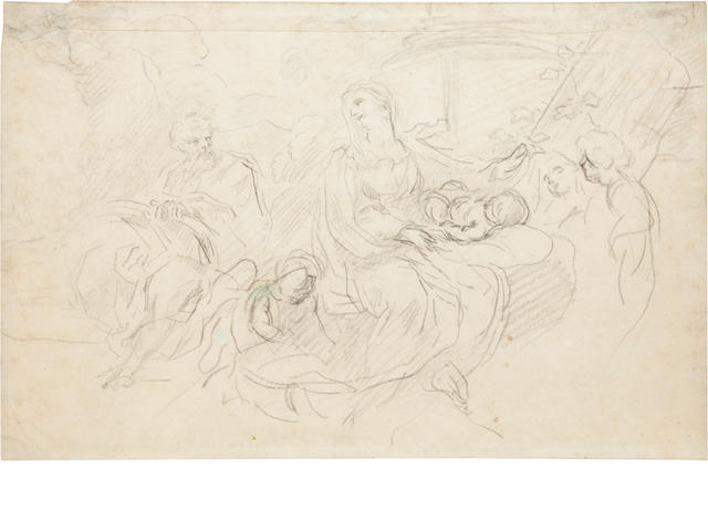 Possibly G.B. Cipriani (Italian, 18th century)<BR />Holy Family<BR />pencil<BR />7 3/4 x 11 3/4 inches PENDING RESEARCH