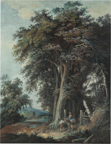 French School, 18th Century A landscape with travelers sight, 21 3/4 x 17in (55.3 x 43.2cm)