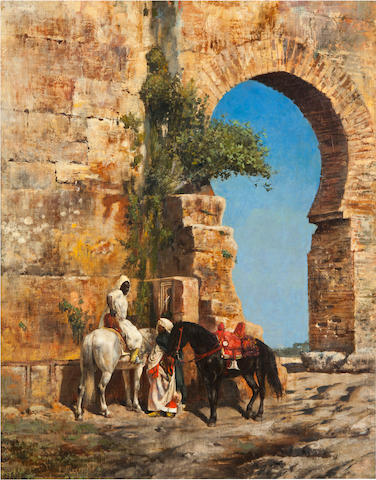 Edwin Lord Weeks (American, 1849-1903) Horsemen waiting at the gateway 35 x 27 1/2in (88.9 x 69.9cm)