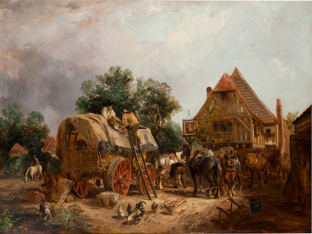 Attributed to Joshua Shaw (British, 1776-1860) Halt at the tavern 32 3/4 x 44in (83.2 x 111.8cm)