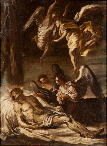 Attributed to Allesandro Magnasco (Italian, 1667 – 1749)<BR />Christ Mourned by the Angels<BR />oil on canvas<BR />26 x 20 inches