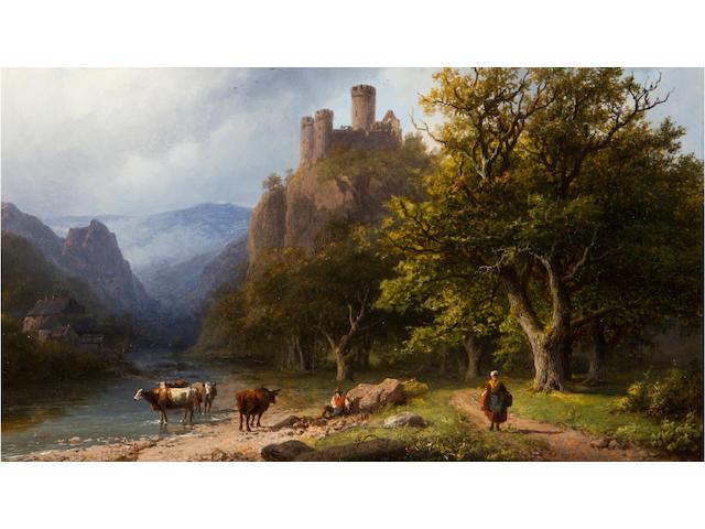 Barend Cornelius Koekkoek (German, 1803-1862)<BR />een bergachtig landschap<BR />oil on panel<BR />10 1/8 x 12 1/4 inches