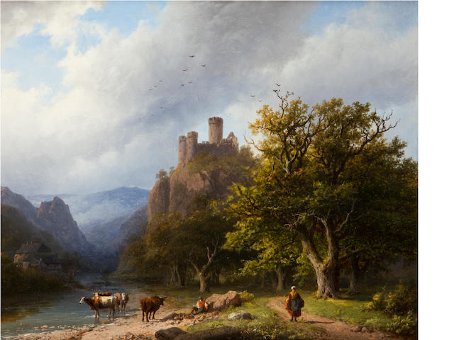 Barend Cornelius Koekkoek (German, 1803-1862)<BR />een bergachtig landschap<BR />oil on panel<BR />10 1/8 x 12 1/4 inches