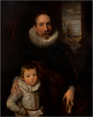 After Sir Anthony Van Dyck A portrait of a gentleman, said to be Joannes Woverius (1576-1636), with his son 42 1/2 x 33 3/4in (108 x 86cm)