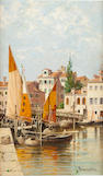 Antoinetta Brandeis (Czech, 1849-1910)<BR />Venice and Florence<BR />oil on board<BR />9 1/2 x 5 1/2 inches