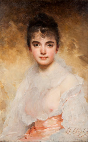 Charles Chaplin (French, 1825-1891) Portrait of a young woman 28 3/4 x 19in (73 x 48.3cm)