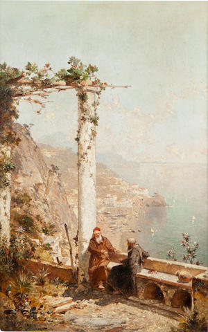 Franz Richard Unterberger(Austrian, 1838-1902)<BR />Monks on a Terrace<BR />oil on panel<BR />22 1/2 x 14 1/4 inches