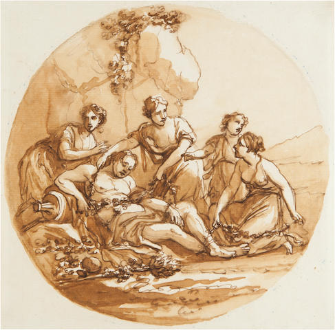 Angelika Kauffmann (Swiss, 1741-1807)<BR />Bacchus Attended by Nymphs<BR />pen, ink and wash<BR />8 x 8 inches
