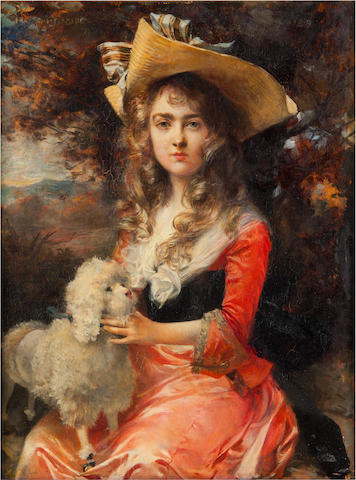 François Flameng (French, 1856-1923) A portrait of Madame Max Decougis 13 1/8 x 10 1/4in (33.5 x 26cm)