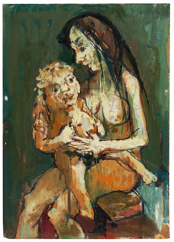 Jean Jansem (born 1920) Mother and Child 10 1/2 x 7 1/2in. (26.7 x 19cm)