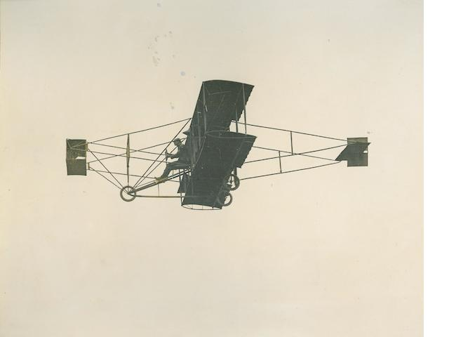 BLERIOT CHASES CURTISS—1909 BENNETT CUP. 2 large black and white photographs, each approximately 10 x 12 inches, mounted.