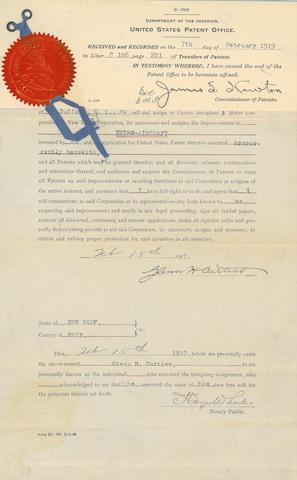 CURTISS' HYDRO-AIRCRAFT PATENT. 1. Printed document, 1 p, 12½ x 8 inches, executed February 15, 1917, accomplished in typescript and manuscript,