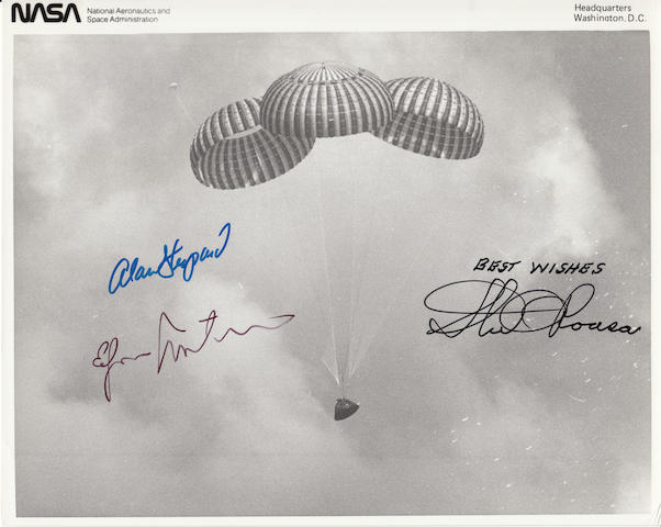 APOLLO 14 RETURNS FROM MOON—CREW SIGNED. Black and white photograph, 8 x 10 inches.