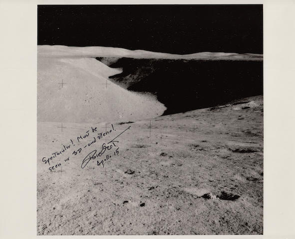 HADLEY RILLE WITH SCOTT'S DESCRIPTION. Black and white photograph, 8 x 10 inches, with a printed NASA text on verso.