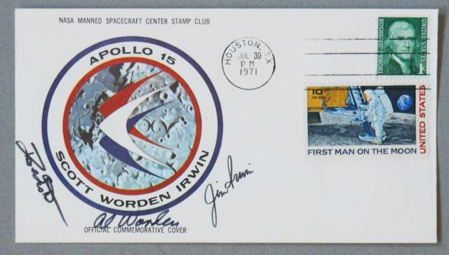 APOLLO 15 LUNAR LANDING POSTAL COVER—SIGNED. Postal envelope with an Apollo 15 crew emblem cachet issued by the NASA Manned Spacecraft Center Stamp Club.