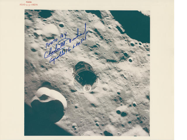 CASPER IN LUNAR ORBIT. Color photograph, 8 x 10 inches, with NASA identification number at upper border.