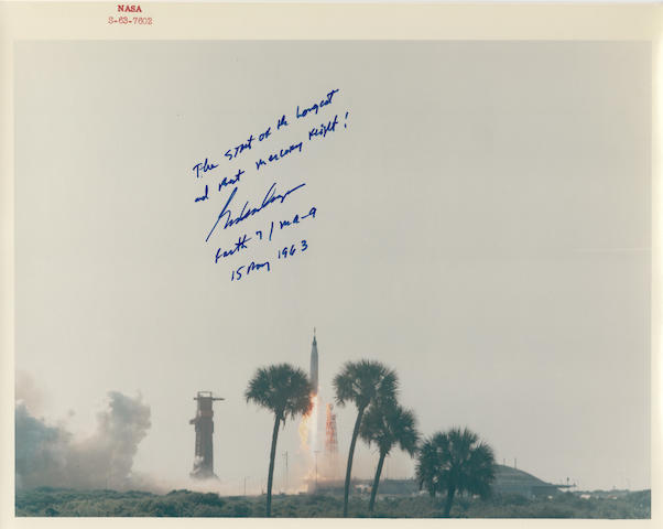 THE BEST MERCURY FLIGHT! Color photograph, 8 x 10 inches,  with a red NASA ID number at the upper border and printed NASA captions on verso.