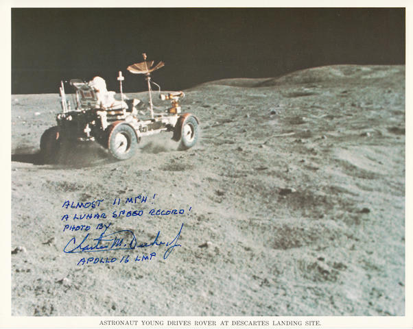 A LUNAR SPEED RECORD! Color photolithograph, 8 x 10 inches,  printed caption along bottom margin with NASA text on verso.