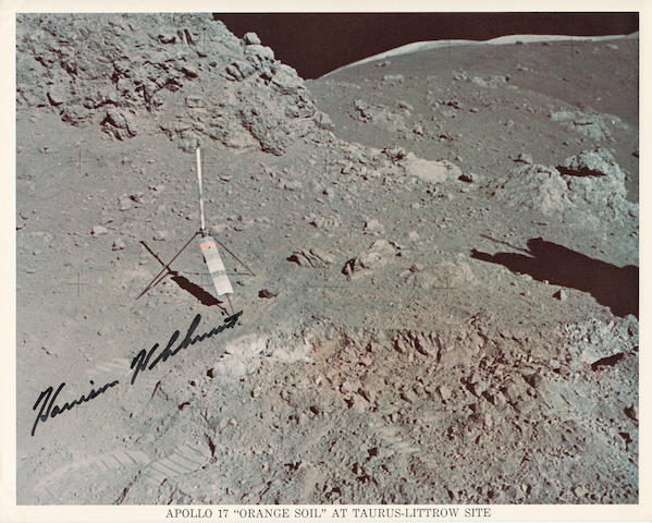 THERE IS ORANGE SOIL! Color photolithograph, 8 x 10 inches, printed caption along bottom margin with NASA text on verso.
