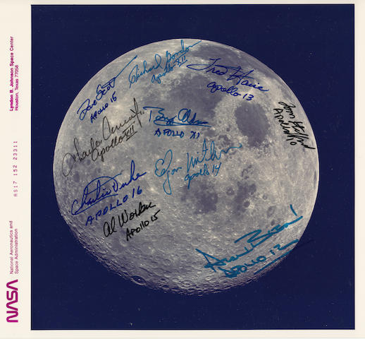 FAREWELL TO A FULL MOON—DECEMBER 1972. SIGNED BY TEN APOLLO LUNAR VOYAGERS.<BR /> Color photograph,