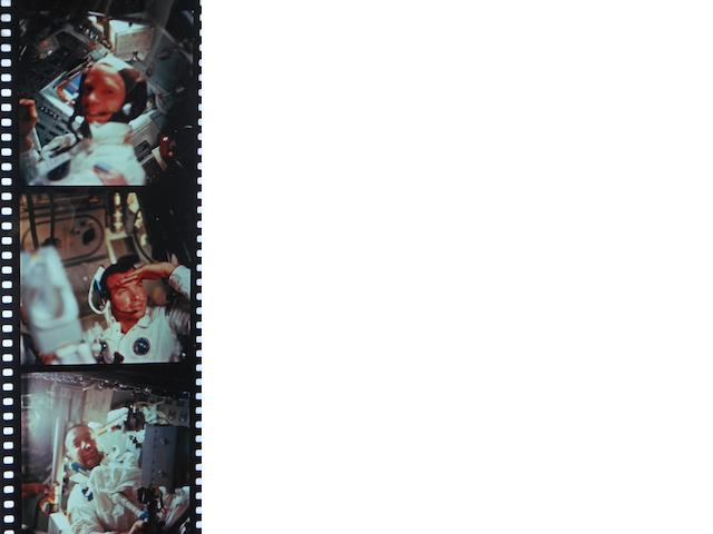 GEMINI AND APOLLO HASSELBLAD POSITIVES. A group of film strips of duplicate positives from various Hasselblad magazines taken during the Gemini 4, Apollo 8, and Apollo 9 missions. Over 200 individual frames.