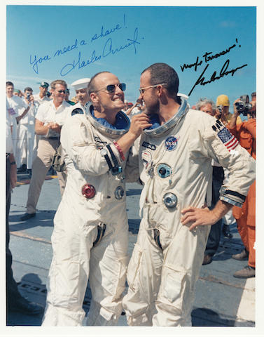 YOU NEED A SHAVE!—CREW SIGNED. Color photograph, 10 x 8 inches.
