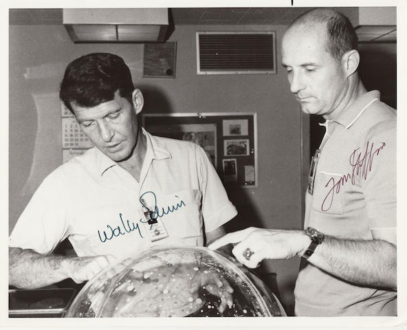 GEMINI 6 CREW WITH STAR GLOBE. Black and white photograph, 8 x 10 inches, with NASA captions on verso.