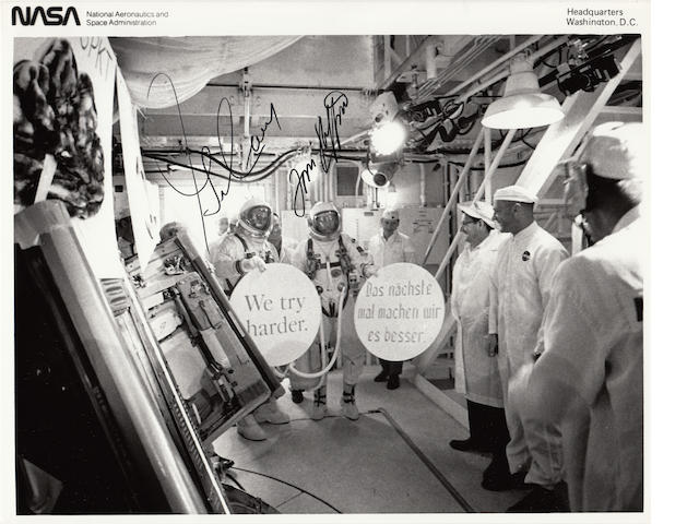 GEMINI 9 LAUNCH GAG—WE TRY HARDER. Black and white photograph, 8 x 10 inches, with NASA captions on verso.