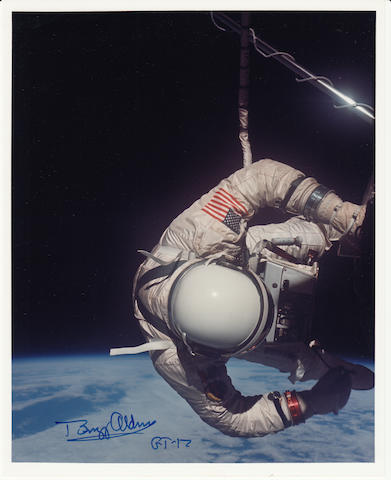 ALDRIN'S SPACEWALK. Color photograph, 10 x 8 inches.