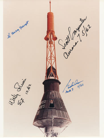 MERCURY SPACECRAFT—SIGNED. Color photograph, 10 x 8 inches.