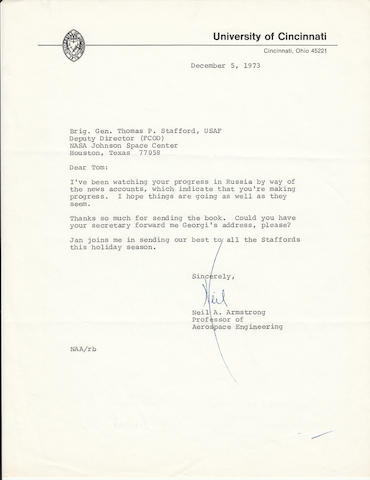 "NEIL ARMSTRONG LETTER TO GENERAL STAFFORD. ARMSTRONG, NEIL. Typed Letter Signed (""Neil""), 1 p, 11 x 8½ inches,  University of Cincinnati, [December 5, 1973],"