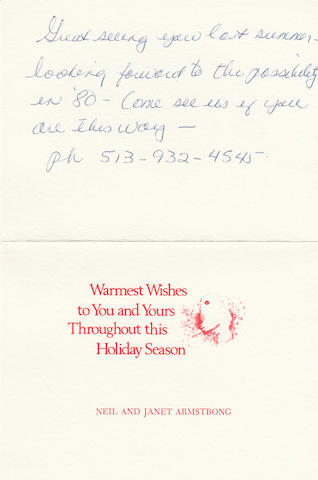 THE ARMSTRONGS SEND A CARD TO THE STAFFORDS. ARMSTRONG, NEIL and JANET. Holiday card, 4 x 5½ inches folded,