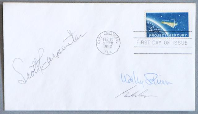 MERCURY STAMP FIRST DAY COVER—SIGNED.  Postal envelope with a Cape Canaveral, Florida postmark dated February 20, 1962,