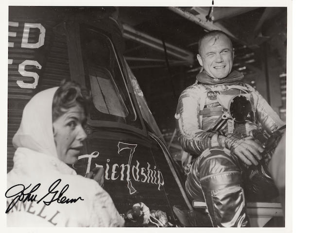 JOHN GLENN AND FRIENDSHIP 7. Black and white photograph, 8 x 10 inches, printed NASA captions on verso.
