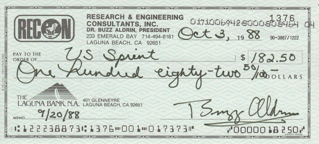 ALDRIN-SIGNED CHECK. Check issued by the Laguna Bank of Laguna Beach, CA for Aldrin's RECON business account.