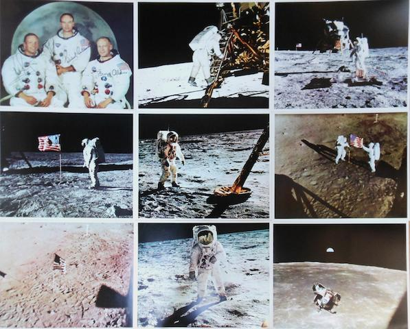 LARGE-FORMAT APOLLO 11 LITHOGRAPH COLLECTION. Large color photolithographs, all 16 x 20 inches.