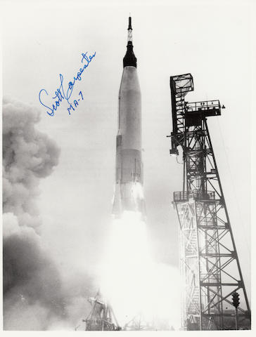 CARPENTER'S LAUNCH. Black and white photograph, 10 x 8 inches, printed NASA captions on verso.