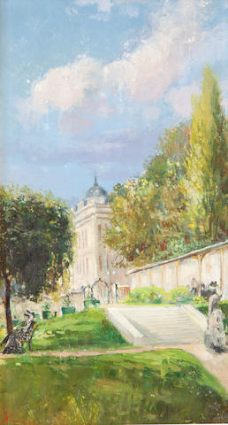 Theodor Aman (Romanian, 1831-1891) A park in Bucharest 9 1/4 x 5 1/2in (23.6 x 14in)