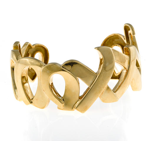 "An eighteen karat gold ""xo"" cuff bracelet, Paloma Picasso, Tiffany & Co., 1985"