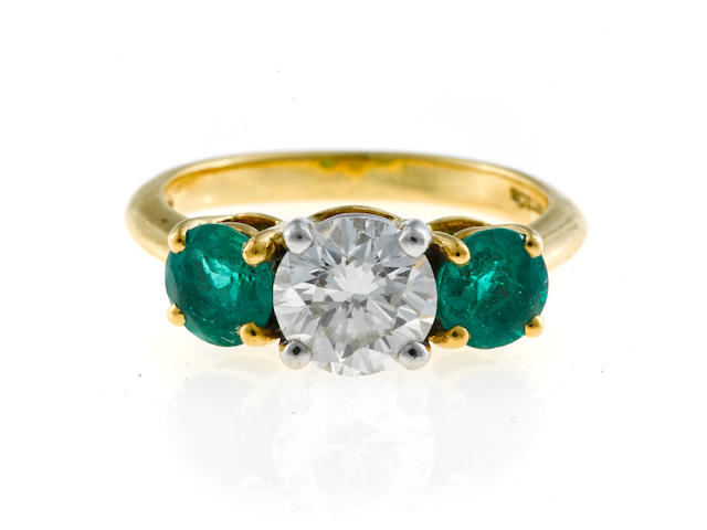 A diamond and emerald three-stone ring, Tiffany & Co.