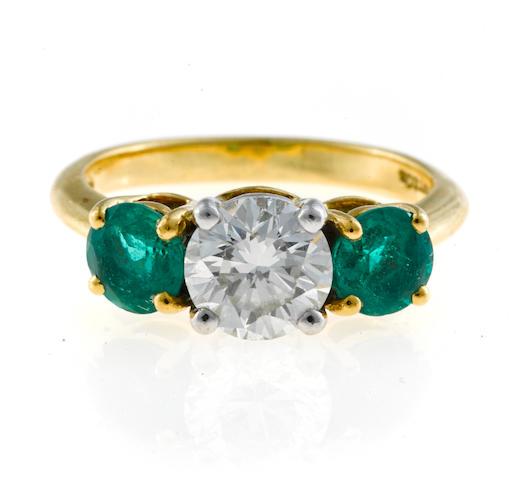 A diamond and emerald three-stone ring, Tiffany & Co.