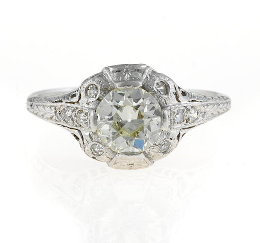 An art deco diamond solitaire ring,