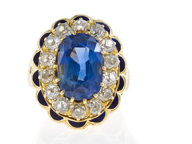 A sapphire, diamond, and enamel ring