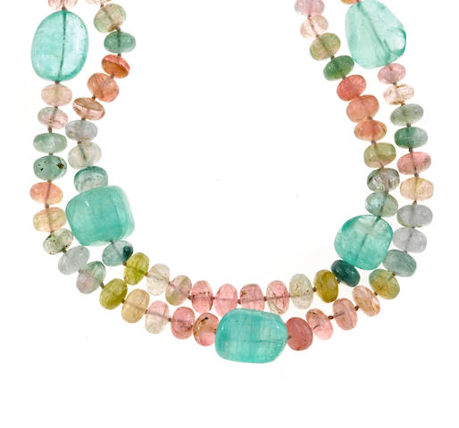 An emerald and multi-color tourmaline double strand necklace