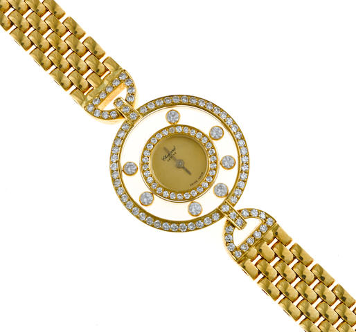 "A diamond and eighteen karat gold ""Happy Diamonds"" wristwatch, Chopard"