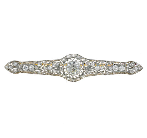 An art deco diamond filigree bar brooch,