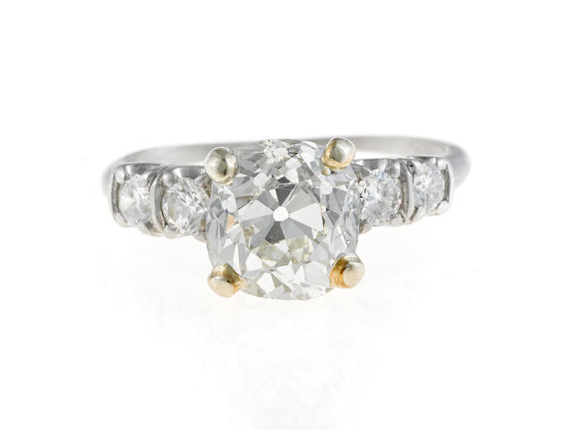 A diamond solitaire ring