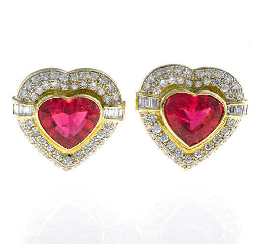 A pair of pink tourmaline and diamond heart earclips