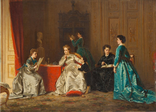 Ladislaus Bakalowicz (Polish, 1833-1904) The latest news 11 6/8 x 16in (30.2 x 40.7cm)